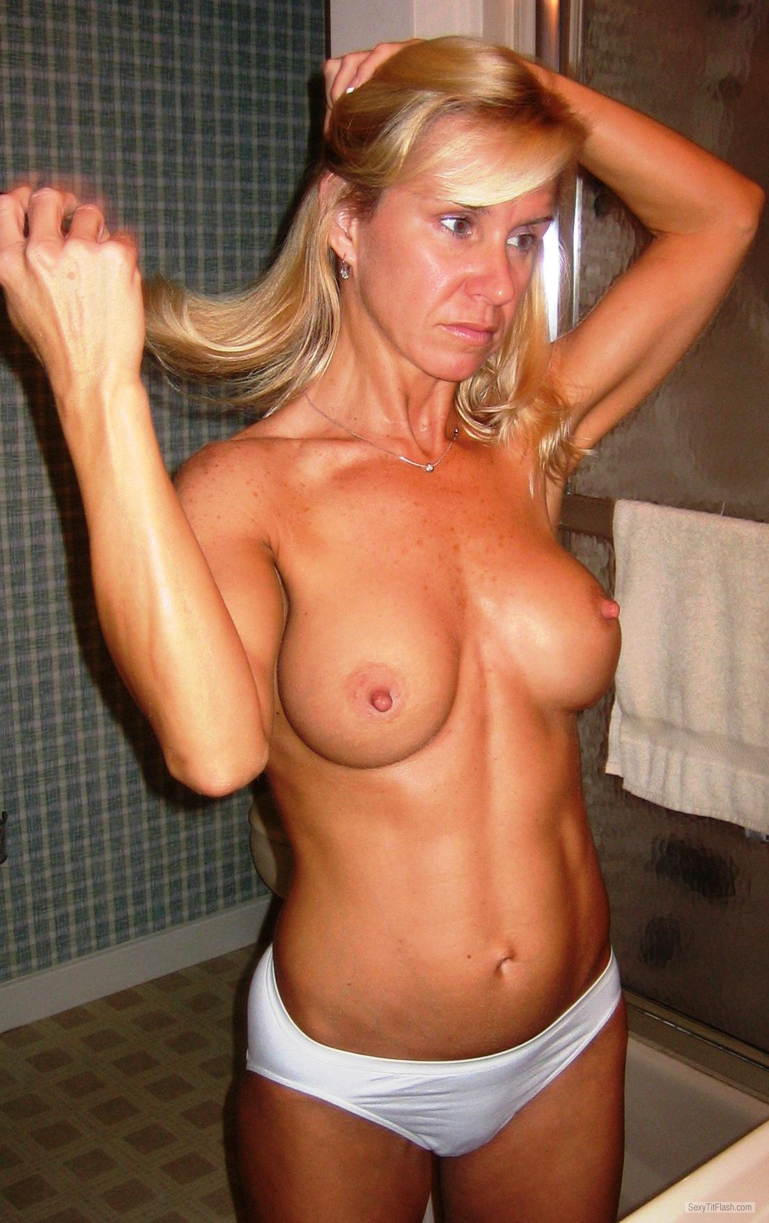 Tit Flash: Wife's Medium Tits - Topless Cass from United States